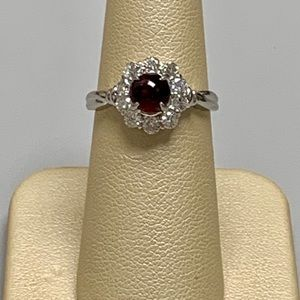 Jewelry - Platinum Ladies Ruby and Diamond Ring Size 6